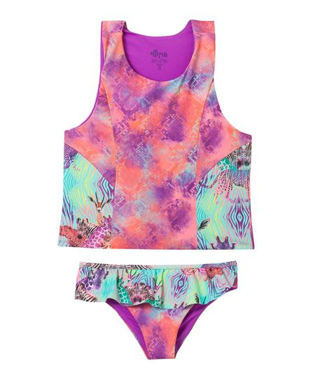 Vestidos-de-baño-Ropa-nina-coral-neon