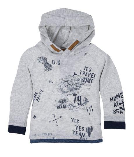 Camiseta-con-capucha-Ropa-bebe-nino-Gris