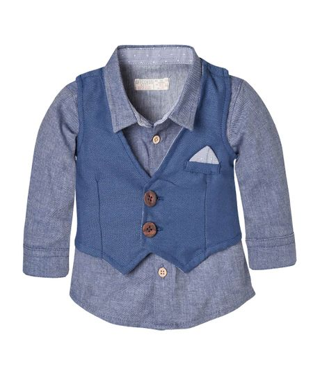 Camisa-con-chaleco-Ropa-recien-nacido-nino-Azul