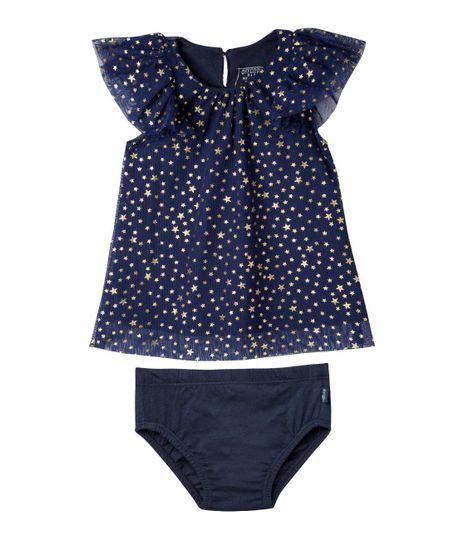 Vestido-manga-corta-Ropa-recien-nacido-nina-Azul
