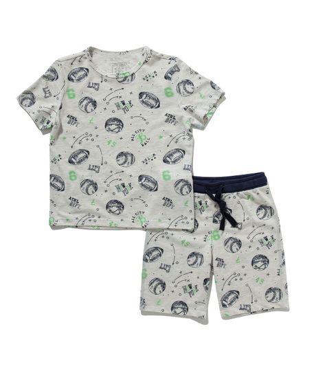 Pijama-manga-corta-Ropa-bebe-nino-Gris