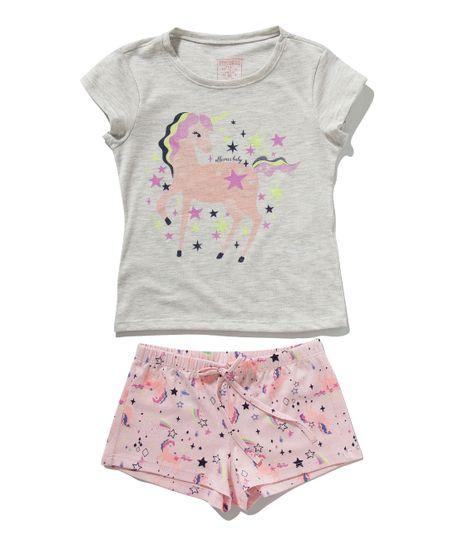 Pijama-manga-corta-Ropa-bebe-nina-Gris