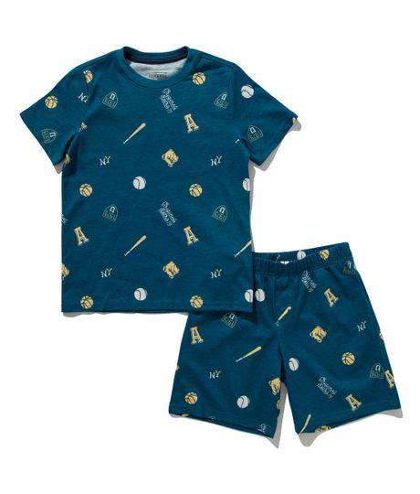 Pijama-manga-corta-Ropa-nino-Azul