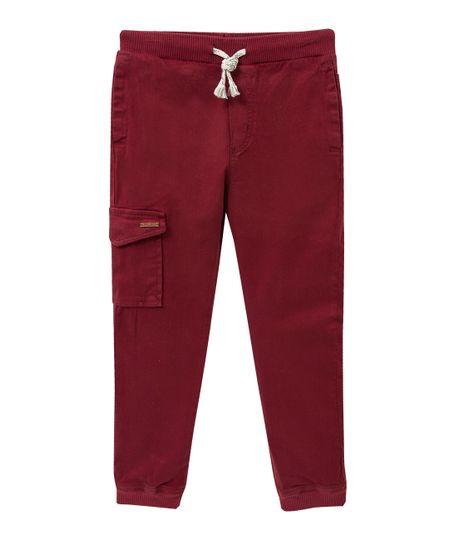 Pantalon-tipo-jogger-Ropa-nino-Rojo