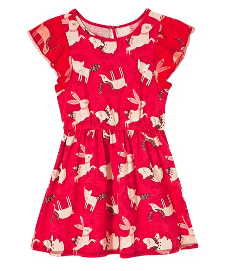 Vestido-manga-corta-Ropa-bebe-nina-Rojo