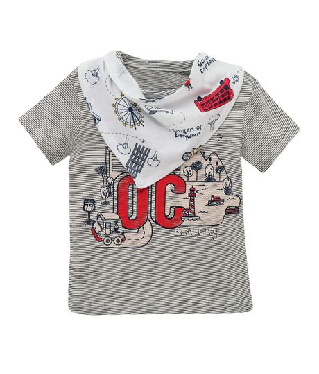 Camiseta-manga-corta-Ropa-recien-nacido-nino-Gris