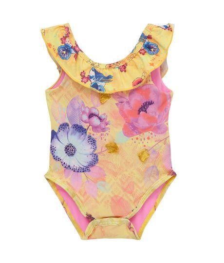 Vestido-de-baño-entero-Ropa-recien-nacido-nina-Amarillo