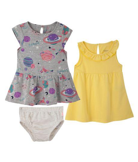 Set-de-vestidos-Ropa-recien-nacido-nina-Amarillo