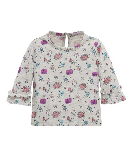 Camiseta-manga-tres-cuartos-Ropa-recien-nacido-nina-Gris