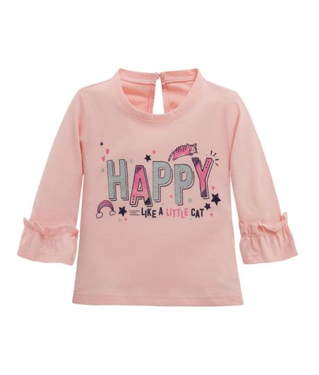 Camiseta-manga-tres-cuartos-Ropa-recien-nacido-nina-Rosado
