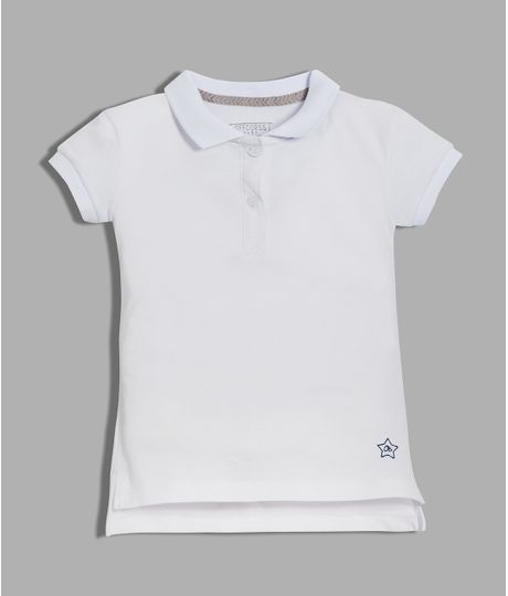 Camiseta-tipo-polo-Ropa-bebe-nina-Blanco