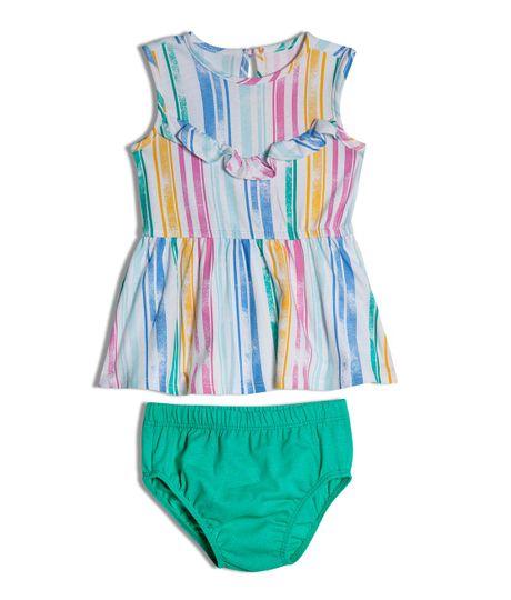 Vestido-manga-sisa-Ropa-recien-nacido-nina-Verde