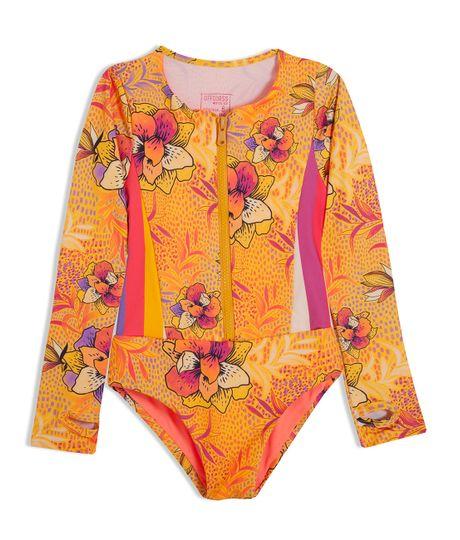 Vestido-de-baño-entero-Ropa-nina-Amarillo