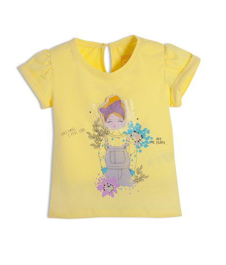 Camiseta-personalizable-Ropa-bebe-nina-Amarillo