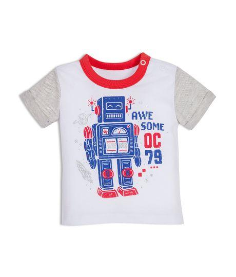 Camiseta-manga-corta-Ropa-recien-nacido-nino-Blanco