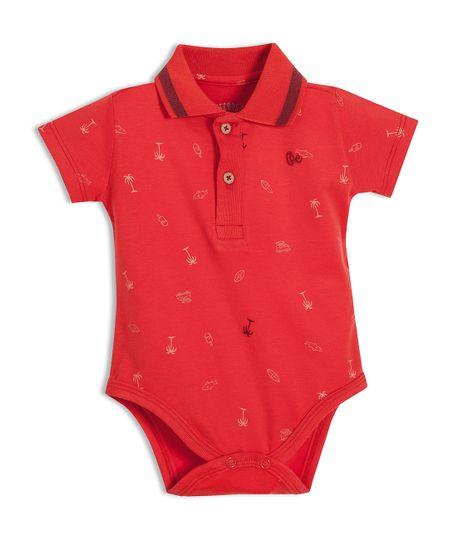 Body-tipo-polo-Ropa-recien-nacido-nino-Rojo
