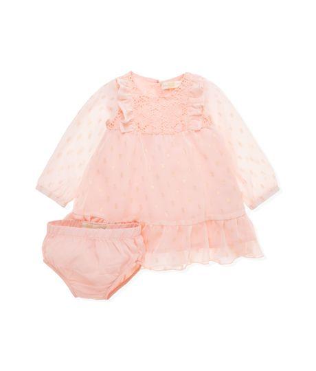 Vestido-manga-larga-Ropa-recien-nacido-nina-Rosado