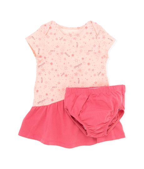 Vestido-manga-corta-Ropa-recien-nacido-nina-Rosado