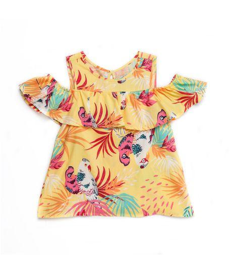 Camisa-manga-corta-Ropa-nina-Amarillo