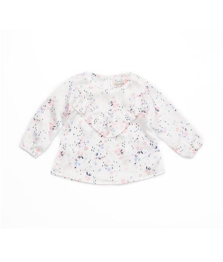 Camisa-manga-larga-Ropa-recien-nacido-nina-Blanco
