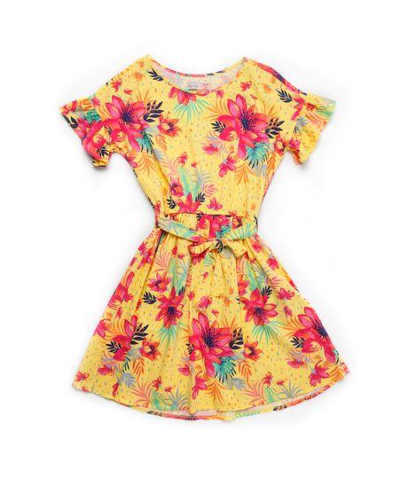 Vestido-manga-corta-Ropa-nina-Amarillo