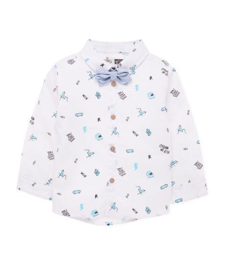 Camisa-manga-larga-Ropa-recien-nacido-nino-Blanco