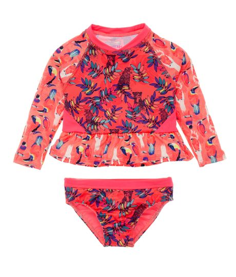 Vestido-de-baño-tipo-tankini-Ropa-bebe-nina-Rojo