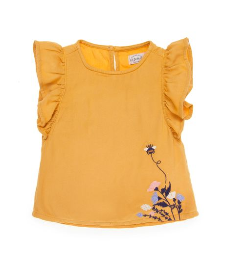 Camisa-manga-corta-Ropa-bebe-nina-Amarillo
