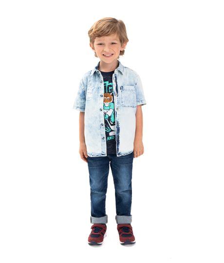 Camisa-manga-corta-Ropa-bebe-nino-Indigo-claro
