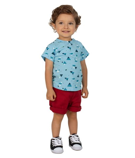 Camiseta-manga-corta-Ropa-recien-nacido-nino-Azul