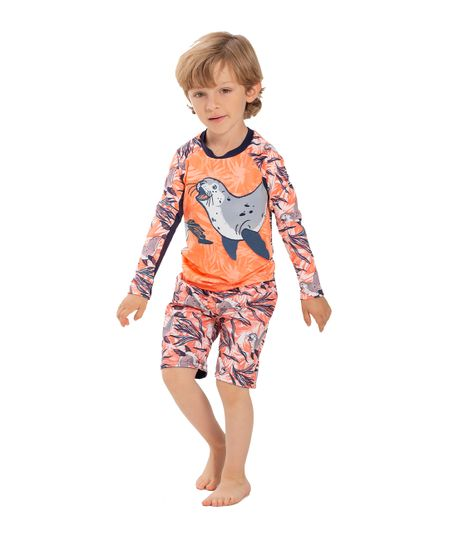 Camiseta-de-playa-Ropa-bebe-nino-Naranja