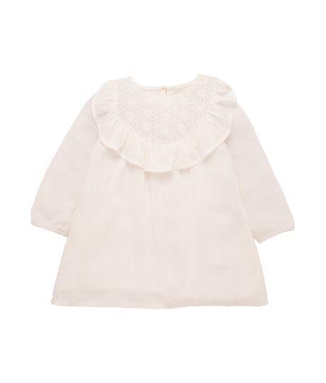 Vestido-manga-larga-Ropa-recien-nacido-nina-Blanco
