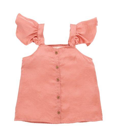 Camisa-manga-corta-Ropa-bebe-nina-Naranja