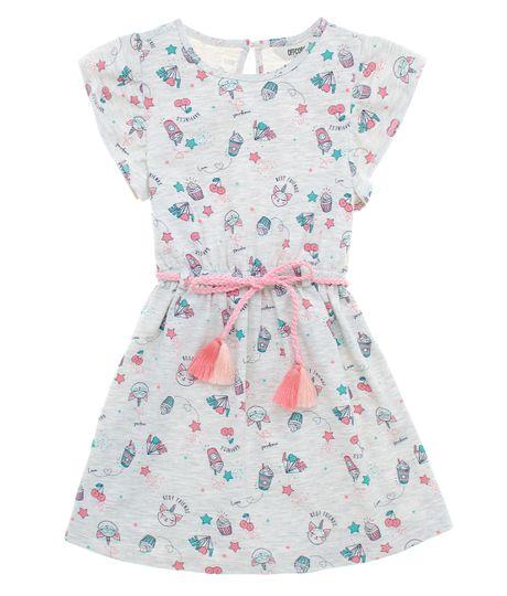 Vestido-manga-corta-Ropa-bebe-nina-Gris
