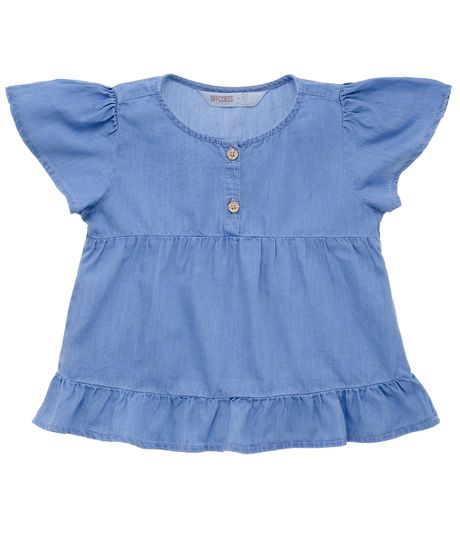 Camisa-manga-corta-Ropa-bebe-nina-Indigo-claro
