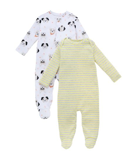 Set-x2-pijama-Ropa-recien-nacido-nino-Blanco