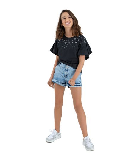 Camiseta-manga-corta-Ropa-nina-Negro