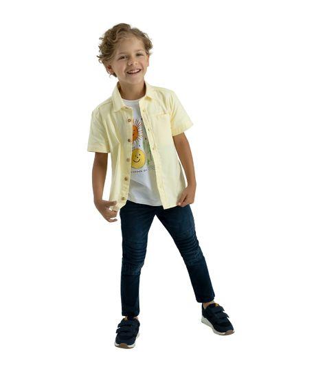 Camisa-manga-corta-Ropa-bebe-nino-Amarillo