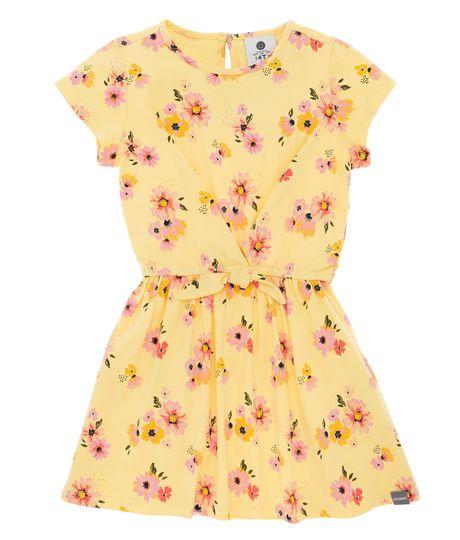 Vestido-manga-corta-Ropa-bebe-nina-Amarillo