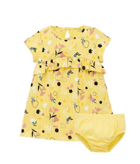 Vestido-manga-corta-Ropa-recien-nacido-nina-Amarillo