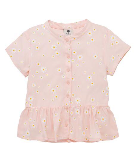Camisa-manga-corta-Ropa-bebe-nina-Rosado