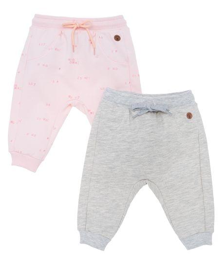 Set-x2-pantalon-de-sudadera-Ropa-recien-nacido-nina-Rosado