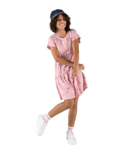Vestido-manga-corta-Ropa-nina-Rosado