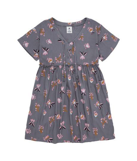 Vestido-manga-corta-Ropa-nina-Gris